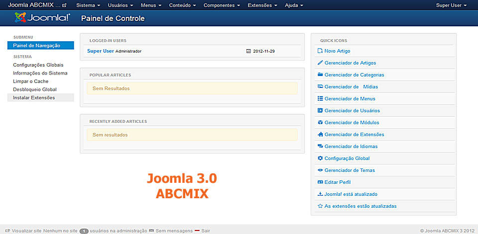 Painel de controle do Joomla